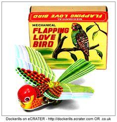 Flapping Love Bird, YONEYA / YONE, Japan (1 of 3). Vintage Tin Litho Tin Plate Toy. Wind-Up / Clockwork Mechanism.