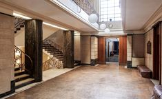 Restoration works begin at Hornsey Town Hall in north London Hotel Lobby, 1930s Decor, Architects London, Marble Staircase, British Architecture, Hotel Lounge, Art Deco Buildings, Terrazzo Flooring, Hall Design