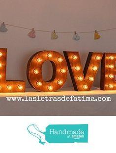 Letras con luces de madera de 40 cm de altas. 100% artesanal. de Handmade with Love by Fatima https://www.amazon.es/dp/B01L9V9B8U/ref=hnd_sw_r_pi_dp_26zkybTT0HE88 #handmadeatamazon