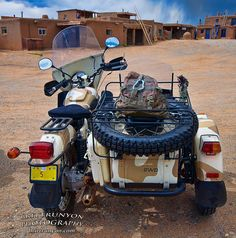 A friends Ural at the Taos Pueblo when we celebrated the 1st Dennis Hopper Day and motorcycles were allowed on the pueblo for the 1st time since Easy Rider was filmed there in 1968. http://britt-runyon.artistwebsites.com/index.html