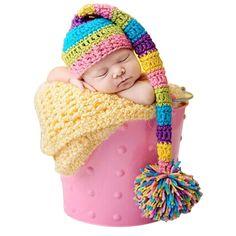 Recién nacido de navidad sombrero con una larga cola linda niños Crochet Cap con…