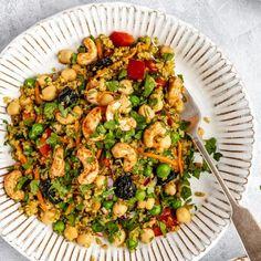 Vibrant Curry Cashew Chickpea Quinoa Salad | Ambitious Kitchen #Chickpea #garbanzobeans #garbanzos #chickpeas #cook #dinner #vegan #veganrecipes #veganfood #healthylifestyle #healthy #healthyfood #nutrition Quinoa Salad Recipes Easy, Healthy Broccoli Salad, Lunch Recipes, Bean Recipes, Healthy Salads, Healthy Food, Dinner Recipes, Healthy Eating, Yummy Food