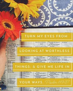Psalm 119:37 Turn my eyes from looking at worthless things; and give me life in your ways.