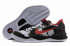 46d743e793e Authentic Nike Zoom Kobe 8 (VIII) Basketball Shoes White Black Red Style  For Wholesale