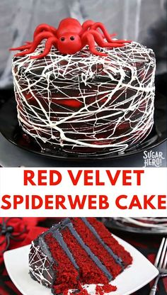This Red Velvet Marshmallow Spiderweb Cake is a classic red velvet cake, frosted with deep black chocolate buttercream, and covered with a spooky web of spiderwebs, made entirely from marshmallows! | From SugarHero.com #sugarhero #spidercake #redvelvet #halloween #dessert