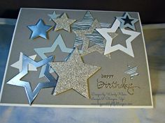 Stampin' Up!  PP214, Endless Birthday Wishes, Stars Framelits, Silver Foil, Silver Glimmer paper, Pewter embossing powder, Moonlight DSP
