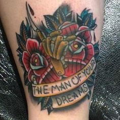 Freddy Krueger inspired tattoo today by at Spooky Tattoos, Wicked Tattoos, Old Tattoos, Badass Tattoos, Body Art Tattoos, Horror Tattoos, Unique Tattoos, Beautiful Tattoos, Tattoo Apprenticeship