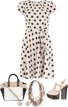 """Nude & Black Spots Dress"" by musicfriend1 ❤ liked on Polyvore"