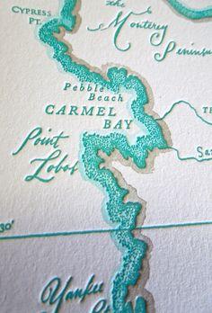 Monterey Bay to Big Sur, California Coast, Letterpress Printed Map.