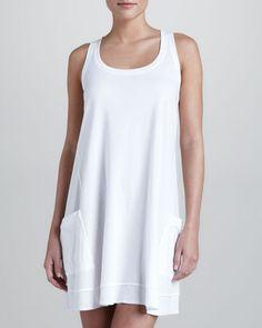 Pima+Cotton+Chemise,+White+by+Donna+Karan+at+Neiman+Marcus.