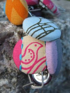 YUDU screen printed fabric made into buttons