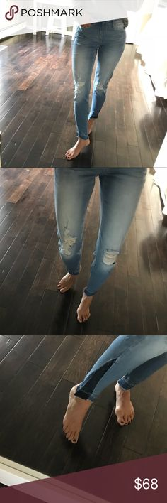 """NWT soft high rise light wash distressed jean New with tags. Super Soft. Light wash distressed jeans - distressed angle with darker strip. Very cool look!  Available sizes 24 ; 26 & 27 Inseam on the size 24 is 27"""" Rise is 8 1/2"""" Lay flat waist measures 11 1/2"""" across on the size 24 Model is 5'2"""" tall for reference K - Los Angeles Jeans"""