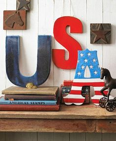Gorgeous hand painted letters perfect for the 4th of July