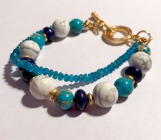 Excited to share the latest addition to my #etsy shop: Howlite Bracelet For Women - Howlite Multi Strand Bracelet with Blue Apatite - Gold Plated - Howlite Layering Bracelet - Howlite Jewelry