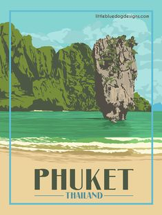 © 2021 Little Blue Dog Designs Poster Vintage, Vintage Travel Posters, Poster On, Poster Prints, Wall Posters, Phuket Thailand, Blue Dog, Rest Of The World, Rome Italy