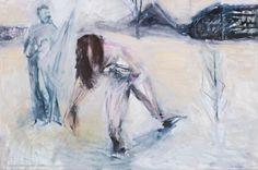 "Artist Olga Gorokhova ""Woman in snow"" oil painting on canvas. Oil Painting On Canvas, Moscow, Countryside, Contemporary Art, Art Gallery, Woman, Winter, Artist, Winter Time"