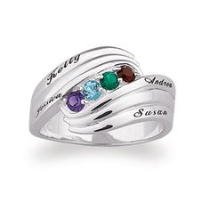Sterling Silver Family Birthstone Swirl Ring (2-6 Stones & Names) - View All Personalized Jewelry - Zales