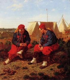 Winslow Homer's painting of two zouaves in camp.