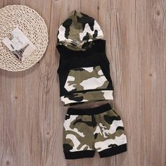 Baby Boys Girls 2pcs Outfit Camo Hooded Vest T Shirt Tops with Pocket Shorts Set 0~6months >>> Check out this great product.(It is Amazon affiliate link) #BabyGirlClothingCollection