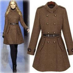 New Women's Popular Woolen Trench Coat Lady Fashion Celebrity Double-breasted Winter Uniform Style Overcoat Thick Jacket WT1718 $39.80