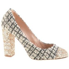 J.Crew Collection Etta tweed and glitter pumps (680 PEN) ❤ liked on Polyvore featuring shoes, pumps, heels, high heel platform pumps, thick-heel pumps, chunky heel platform shoes, glitter shoes and glitter pumps