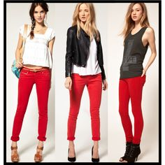 High and Cute Red Pants Fashion Ideas Red Jeans Outfit, Jeans Outfit Winter, Pants Outfit, Fall Outfits, Cute Outfits, Red Dress Pants, Red Pants Fashion, Fashion Outfits, Womens Fashion