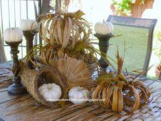FALL OUTDOOR TABLESCAPES | One More Time: Palm Leaf Fall Outdoor Tablescape | Fall already?