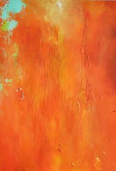 """Orange Burst"" Oil on stretched canvas Size: 14"" x 20"" Painting by Contemporary Abstract Artist Maria Kitano"