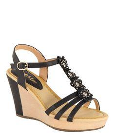 978c425b5752 Bella Marie Black Flower Wedge Sandal