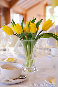 grey and yellow tulip wedding table settings - Google Search