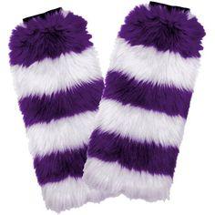 Fuzzy Fan Leg Warmers, Purple/White