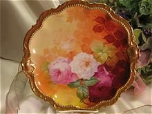 "Classic Antique Limoges Beauty Famous French Artist Signed ""A. BRONSSILLON"" Sumptuous Masterpiece ""ROMANTIC TEA ROSES"" PLAQUE Charger Plate Hand-painted Victorian Floral Art Fine Porcelain Heirloom China Painting George Borgfeldt Coronet Circa 1900"
