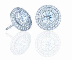 The Aura Double Halo Russian Lab Diamond Stud Earring Set - Joy of London Jewels