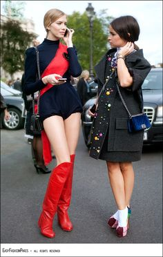 turtle neck/shorts onesie. Elena and Miroslava- pary of the fabulous Russian brat pack of fashion!