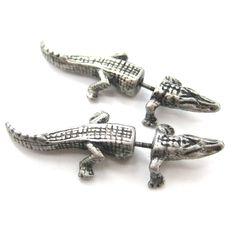 Fake Gauge Earrings: Alligator Crocodile Animal Shaped Stud Plug Earrings in Silver