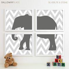 Childrens Art for Kids Wall Art, Jungle Baby Nursery Decor, Safari Animal Nursery Art, Elephant Chevron Nursery Wall Art - Four 11x14