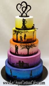 Las Vegas Custom Cakes - Las Vegas, NV ~ A cake that tells YOUR STORY! Las Vegas Custom Cakes is dedicated to helping make your special event memorable. Whether you are having an intimate affair or an extravagant event for thousands, their experienced and Pretty Cakes, Beautiful Cakes, Amazing Cakes, Gay Wedding Cakes, Lesbian Wedding, Rainbow Wedding Cakes, Wedding Story, Wedding Menu, Cupcake Cakes