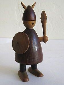 Jacob Jensen Mid Century Danish Modern Teak Wood Viking Figure Toy Bojesen Era