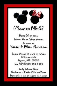 Printable Mickey Mouse Or Minnie Mouse Gender Reveal Baby Shower