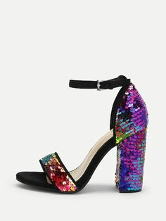 89662927edf788 Black ankle strap block heel with multicoloured sequins 24€