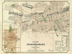 Map of Johannesburg Old Johannesburg map up to Large map of Johannesburg South Africa - Frame(s) not included University Of The Witwatersrand, Library University, Johannesburg City, Vintage Maps, Antique Maps, Old Maps, City Maps, Historical Maps, African History