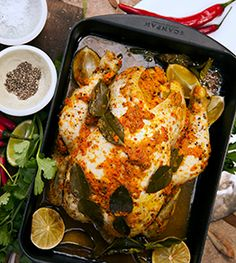Balinese Roasted Chicken - Pete Evans Chef 1 whole organic chicken 10 garlic cloves, finely diced 6 long red chillis, finely diced 6 red eshallots, finely diced 1 knob ginger, finely diced 1 small finger turmeric, finely diced 4 kaffir lime leaves 4 limes