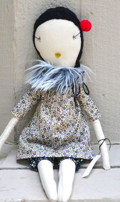 jess brown handmade rag doll with liberty floral