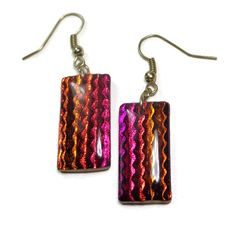 Fuchsia Dichroic Earrings- polymer clay jewelry- Resin earrings- Crystal Earrings- Ready to Ship- Gifts for Her