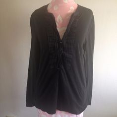 J.Crew Lightweight 100% Cotton Black Half Button Long Sleeve Ruffle Neck Top M #JCrew #Blouse #Casual