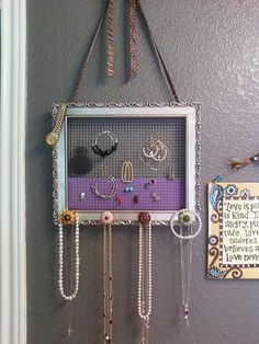 Very cool earring and necklace holder     http://www.creatingreallyawesomefreethings.com/update-c-r-a-f-t-4-framed-earrings/