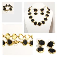 """❣️MOVING SALE❣️Black & Gold Jewelry Set 🎉SALE🎉EVERYTHING $10 & UNDER! 20% OFF 2+ BUNDLES!!! Stunning necklace, bracelet, & earrings jewelry set. Matching items w/oblong flat black plates w/gold trim & flexible attachment pieces. Earrings have 2 plates & for pierced ears. Necklace & bracelet have toggle claps. Necklace=18"""", Bracelet=7"""", Earrings=1.5"""". Excellent pre-loved condition. ⭐️⭐️⭐️⭐️⭐️  It is the BUYER'S responsibility to ensure an item will fit.  ✅ASK QUESTIONS ✅Bundle ✅Offers ❌NO…"""