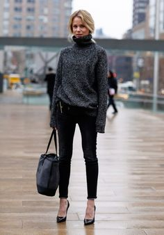 4 Super Stylish Ways I Plan on Rocking a Turtleneck This Fall: oversize with skinnies and pumps
