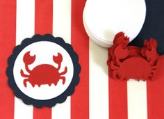 OFF SALE - 15 Die Cut Fully Assembled Scallop Circle Nautical Crab Cupcake Toppers inches) in Navy, Red, & White Cardstock Lobster Bake Party, Crab Cupcakes, Cupcake Toppers, Diy Cupcake, 1st Birthday Parties, Diy Birthday, Party Invitations, First Birthdays, Card Stock