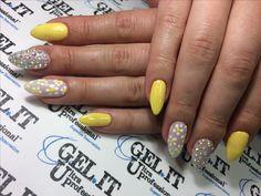 Nails, nail art, nail design, yellow nails, spring 2017 nails, flowers nails, sparkling nails, summer nails